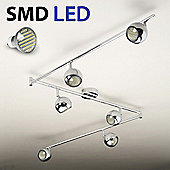 Retro Six Way Adjustable LED Ceiling Spotlight, Chrome