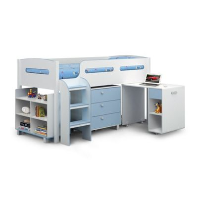 Happy Beds Kimbo Wood Kids Storage Midsleeper Cabin Desk Storage Bed with Orthopaedic Mattress - White and Blue - 3ft Single