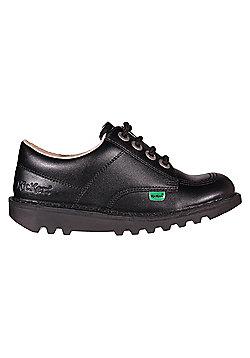 Kickers Kick Lo Leather Junior Girls School Shoe Boot Black - Black