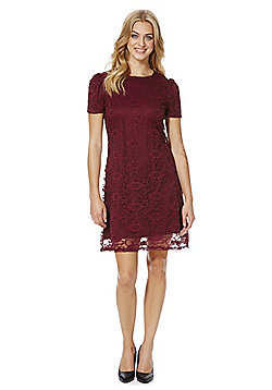 Mela London Puff Sleeve Lace Dress - Burgundy