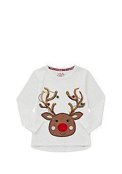 F&F Light-Up Reindeer Christmas Long Sleeve T-Shirt - Cream
