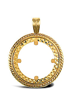 Jewelco London 9ct Solid Gold casted half-size rope design Sovereign coin pendant mount