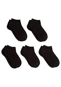 F&F 5 Pair Pack of Trainer Socks - Black
