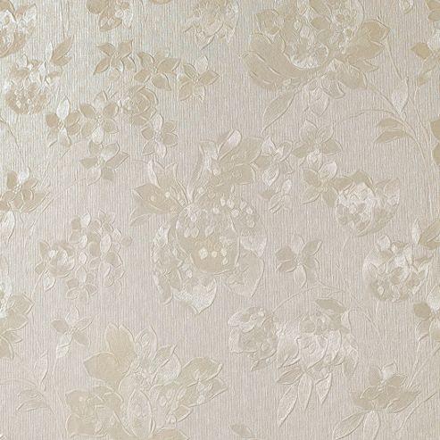 Superfresco Floral Silk Cream Shimmer Effect Wallpaper