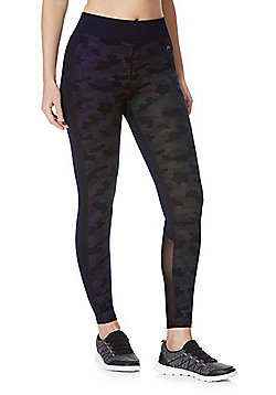 F&F Active Light Reflective Camo Print Quick Dry Leggings - Black & Multi