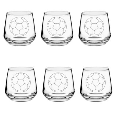 Argon Tableware Engraved Glass Whiskey Tumblers - Football - 345ml - Pack of 6