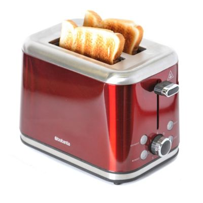 Brabantia 2-Slice Brushed Stainless Steel Toaster - Red