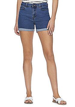 Vero Moda High Waisted Denim Shorts - Blue