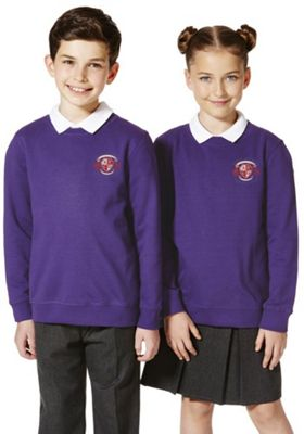 Unisex Embroidered School Sweatshirt with As New Technology 15-16 years Purple