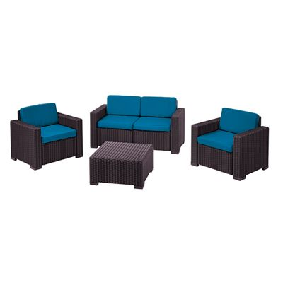 Gardenista Replacement 8 Piece Seat Pad Set for Keter Allibert California Patio Set - Turquoise