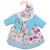 Bigjigs Toys Turquoise Rag Doll Cardigan and Flowery Dress for 34cm Soft Doll with Additional Matching Hair Accessories