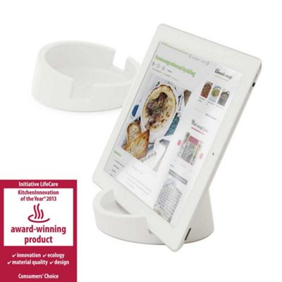 Bosign iPad or Tablet Heavyduty Stand in White Silicon for Reading or Working Ø11.4xH4.5cm