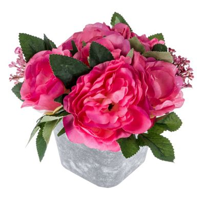 Homescapes Cerise Pink Artificial Rose and Sedum Potted Plant with Lifelike Petals