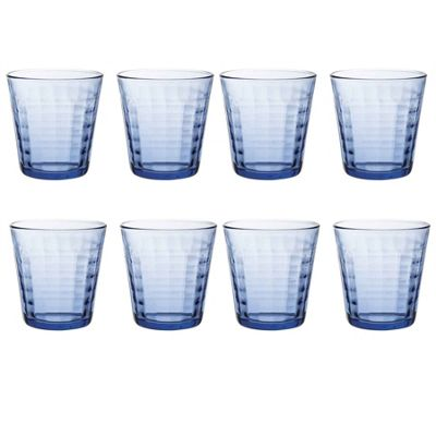 Duralex Prisme Water / Juice Tumbler Glasses - 275ml - Blue - x8