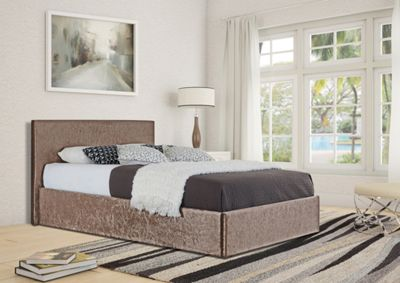 Comfy Living 5ft King Size Crushed Velvet Ottoman Storage Bed Frame in Truffle with Damask Memory Mattress