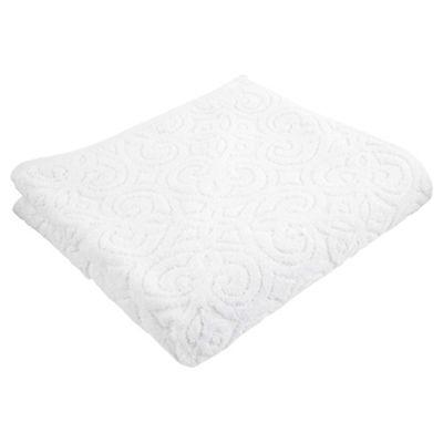 Kingsley Sculptured White Bath Towel