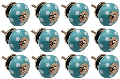Ceramic Cupboard Drawer Knobs - Polka Dot Design - Turquoise / White - Pack Of 12