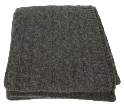 Slate Wool Twist Throw Blanket Sofa Bedroom Decor