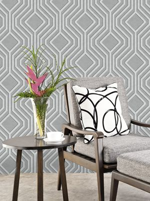 Opus Geo Sequins Wallpaper Silver And Dark Grey Holden Decor 35564