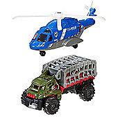 Matchbox Jurassic World Land and Air Vehicle 2 Pack - Mission Chopper & Mauler Hauler