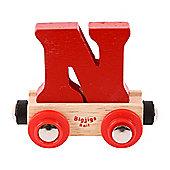 Bigjigs Rail Rail Name Letter N (Dark Red)