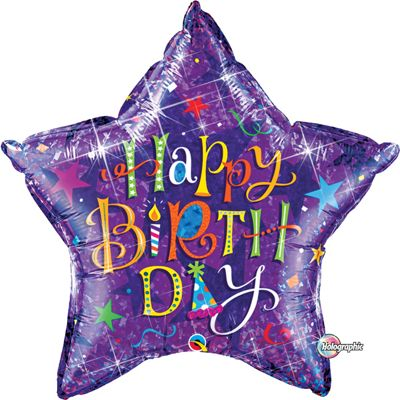Birthday Typography Purple Balloon - 36 inch Foil