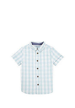 F&F Gingham Short Sleeve Shirt - Mint/White