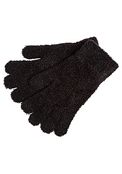 F&F Eyelash Knit Magic Gloves - Black
