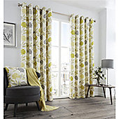 Fusion Karsten Eyelet Curtains - Lime