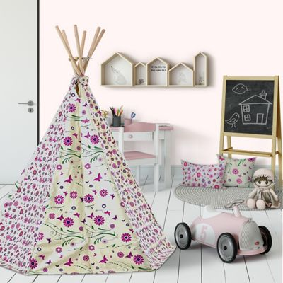 Flower and Butterfly Wigwam Teepee Play Tent - Pink Children's Tipi Playtent