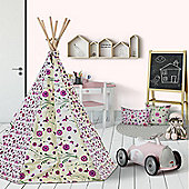Flower and Butterfly Wigwam Teepee Play Tent, Pink Children's Tipi
