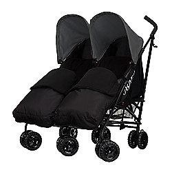 Obaby Apollo Black & Grey Twin Stroller with 2 Black Footmuffs - Grey