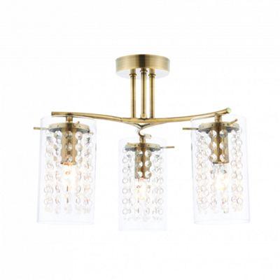 Antique Brass Effect Plate & Clear Glass Drops 3lt Semi Flush 40W