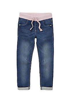 F&F Contrast Ribbed Waist Jeans - Mid wash
