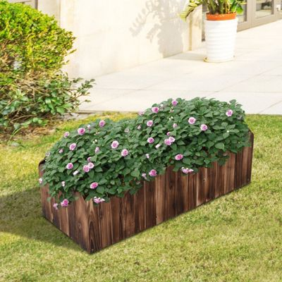 Outsunny Garden Flower Wooden Rectangle Planter Vegetable Display (100L x 40W x 30H (cm))