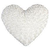 Rose Faux Fur Heart Cushion