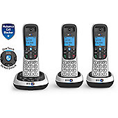 BT 2700 Trio Cordless Home Phone with Call Block & Answer Phone - Silver