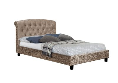 Comfy Living 5ft King Size Luxury Crushed Velvet Bed Frame with Buttoned Headboard in Truffle