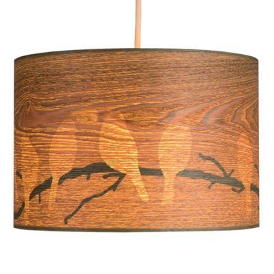 Large Wood Veneer Pendant Shade & Bird Cut Outs