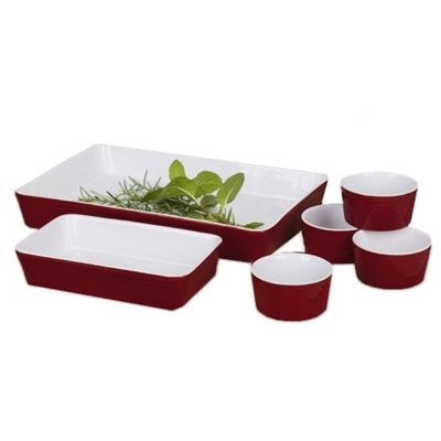 6 Piece Oven to Table Set Red Serving Set