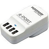 Promate powerHub-4 6.8A Ultra-Portable Heavy Duty Worldwide USB Wall Charger with 4 USB Charging Ports (White)