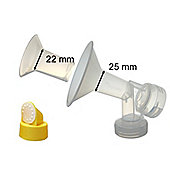 One-Piece Breastshield Medium (25mm) + Small (22mm) insert for Medela Breast Pumps with Valve and Membrane