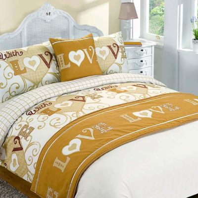 Bed in Bag Duvet Cover Set With Love Gold - Double