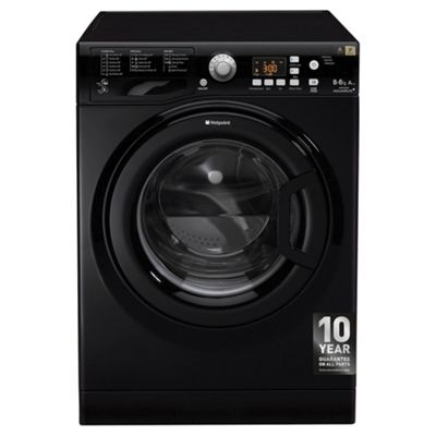Hotpoint WDPG8640K Washer Dryer, 8Kg Wash Load, 1400 RPM Spin, A Energy Rating, Black