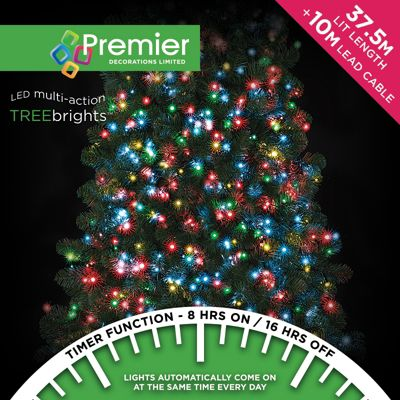 Premier 1500 Multi Action TreeBrights LED Lights with Timer - Multi-Colour