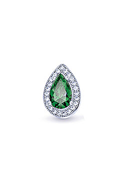 REAL Effect Rhodium Plated Sterling Silver Green Cubic Zirconia Pear Shape Charm Pendant - 16/18 inch