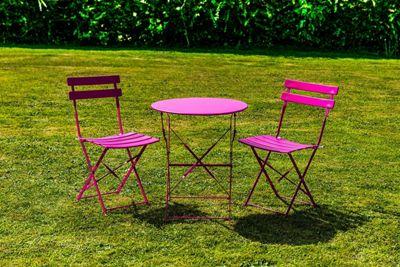 Kingfisher Pink Metal Bistro Garden Patio Furniture Set