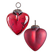 Set of Two Red Crackle Glass Heart Christmas Tree Bauble Decorations