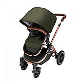 Ickle Bubba Stomp V4 Special Edition Pram with Maxi Cosi Adaptors plus 2nd Stage Isofix Car Seat - Woodland Bronze