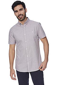 F&F Spot Print Short Sleeve Oxford Shirt - Grey